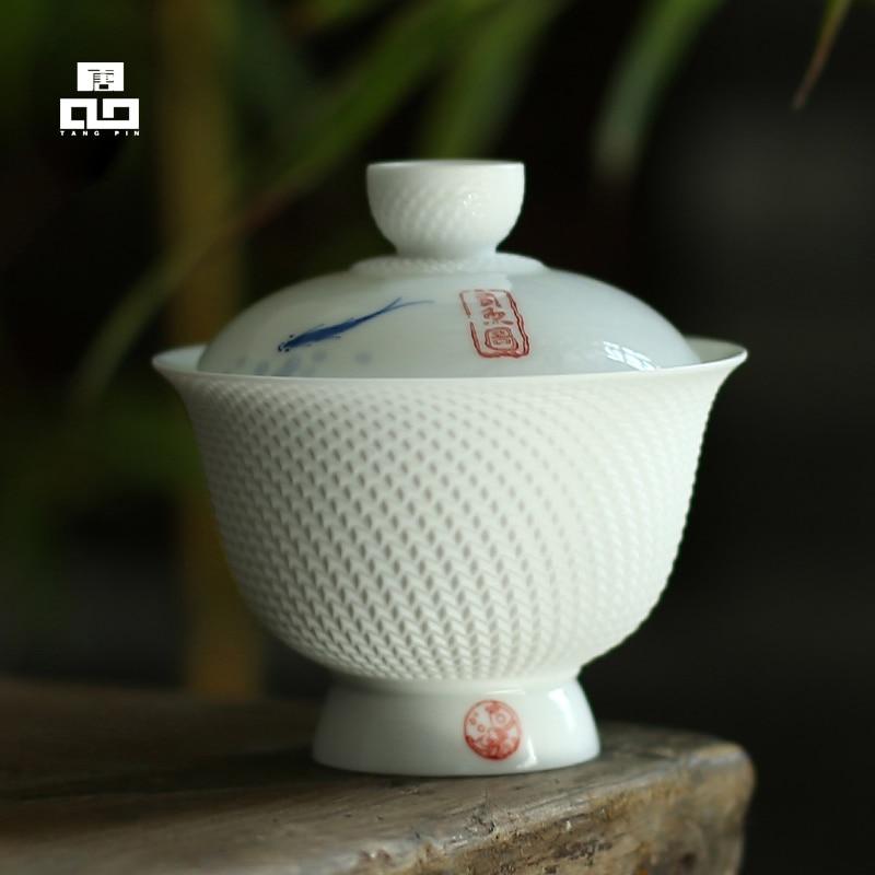 TANGPIN Ceramic Teapot Kettle Gaiwan Teacup Fish Chinese Kung Fu Tea Sets
