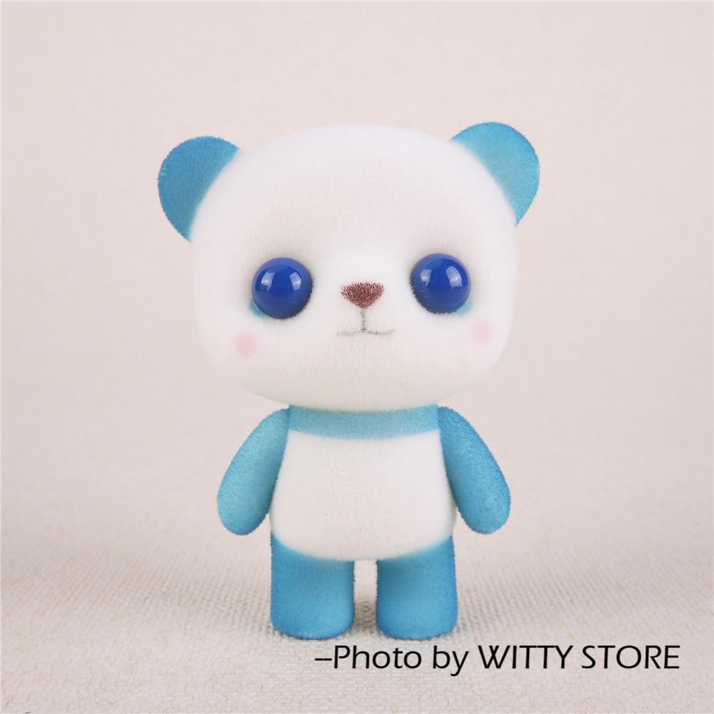 Mini PVC Flocking Decoration Dolls Cute Panda Kawaii Doll Toy ...