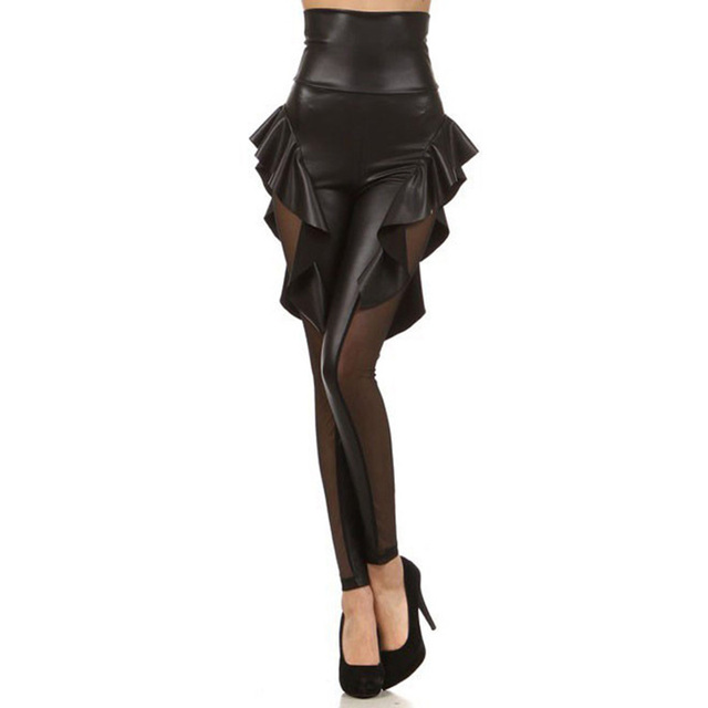 Free Shipping Rock Star Style Women Pants Gothic Faux Leather Patchwork Frill Hollow Mesh Ladies Leggings Sexy Female Pants