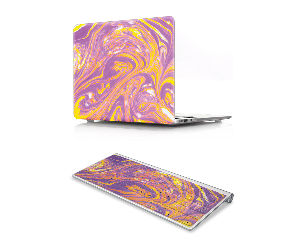 HRH 2 In1 Purple Marble Texture Design Rubberized Hard Case Matching Rubber Keyboard Cover for MacBook Air Pro Retina11 12 13 15