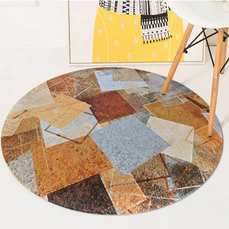 Europe Round Carpets Brown Yellow Grey Tapete Vintage Geometric Anti-Slip Area Rugs Home Bedroom Foot Pads Floor Mat Decorations