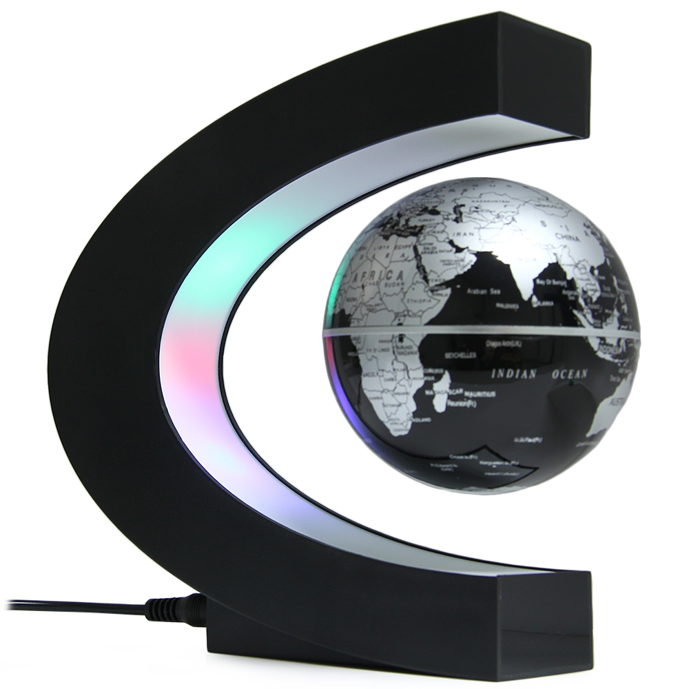 Novelty LED World Map Light Floating Globe Magnetic Levitation Light Antigravity Magic Novel Lamp Birthday Home Dec Night lamp magnetic floating levitation 3d print moon lamp led night light 2 color auto change moon light home decor creative birthday gift