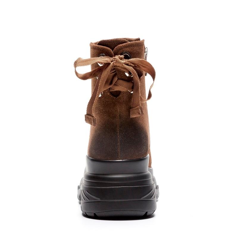 Pour Vache Hiver Mode Haute Solide Zvq 3440 2018 Zip Nouvelle Rond brown Coins Chaussures forme Taille En Femmes Chaud Black Bout Daim Plate Bottines Concise E9HIDW2