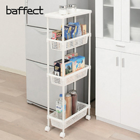 Kitchen Organizer Storage Shelf Rack With Wheel Shelf Refrigerator Removable Storage Shelf Rack 3/4 layer Handle Gap Shelves
