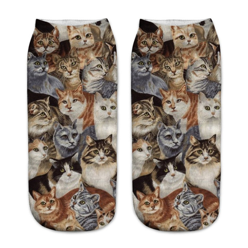 Cute cat print 3D socks happy funny socks men Women comfortable Medium Sports Casual Work Business Socks #2S29 (6)