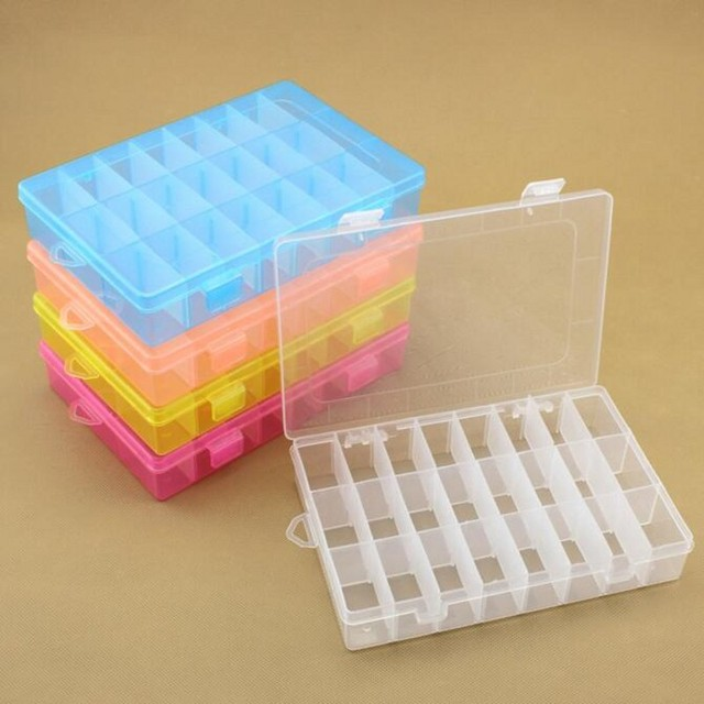 MultiFunction 24 Case Transparent Plastic Storage Box Jewelry