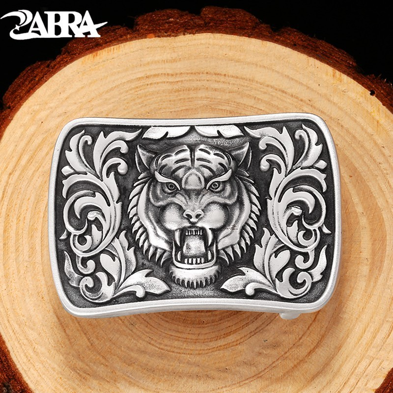 Luxury Vintage Mens' Belt Buckle 990 Sterling Silver Belt Buckles For Men Skull Tiger Dragon Biker Suitable For 4cm Width Belt