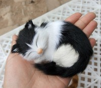 mini cute simulation cat toy resin&fur white&black sleeping cat model gift about 10x7.5x5cm