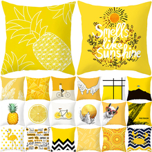 home textile 2019 new pillow cover yellow style printed pillowcase 45*45cm square shape pillow cases home decorative kussensloop vintage style birds pattern square shape flax pillowcase without pillow inner
