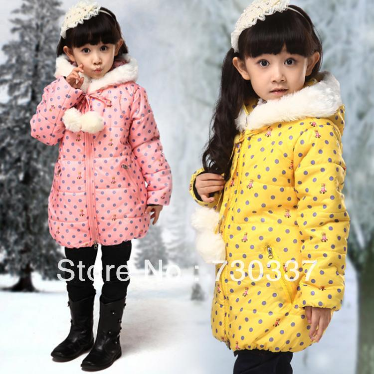 Free shipping Winter girl dot printed collars cotton quilted jacket cotton-padded jacket coat children clothing loose long sleeve stand up collar leopard print single breasted shirt