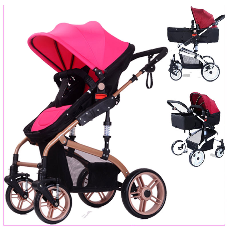 High Landscape Luxury Folding Baby Stroller Reverse Handle Portable Stroller Baby Pram Pushchair Baby Sleeping Basket Carriage free shipping mjx x101 2 4g 4 channels r c quadcopter rc drone 7 4v 1200 mah li po battery