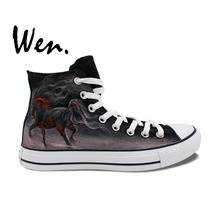Wen Original Hand Painted Shoes Horse Design Custom High Top Man Woman's Canvas Sneakers Christmas Gifts