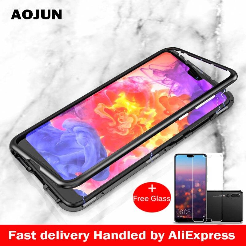HUAWEI P20 PRO magnética adsorción caso Ultra para Huawei P20 P20 Pro P20Pro imán caja de vidrio templado + regalo vidrio