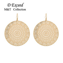 Exquisite Golden Color Hollow Circular Drop Earrings For Women Long Dangling Brincos Earring Wedding Party Bridal Jewelry