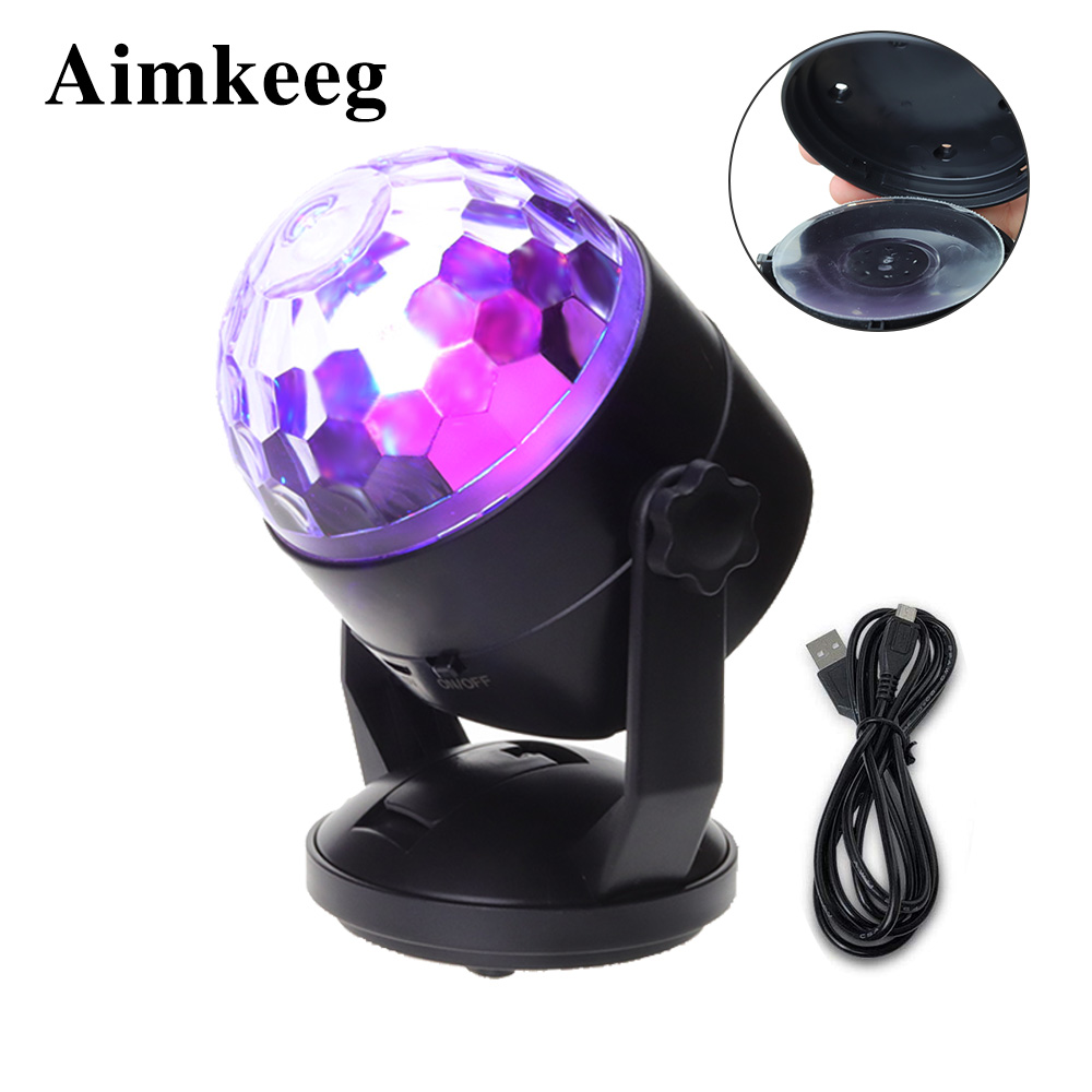 LED Stage Lighting Sound Activated Party Lights RGB Disco DJ Party Light Battery Powered/USB Plug Magic Ball Laser Projector
