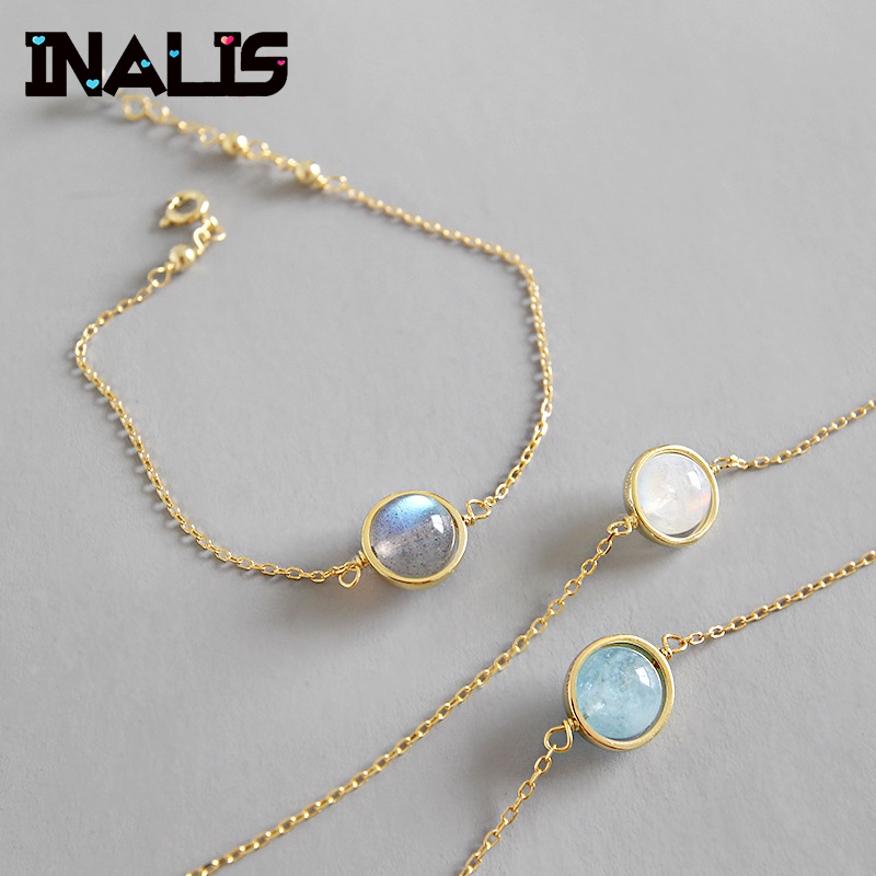 INALIS Charm Bracelets & Bangle S925 Sterling Silver Moonstone Aquamarine Bead Chian Link Gold Color Bracelet For Women Jewelry