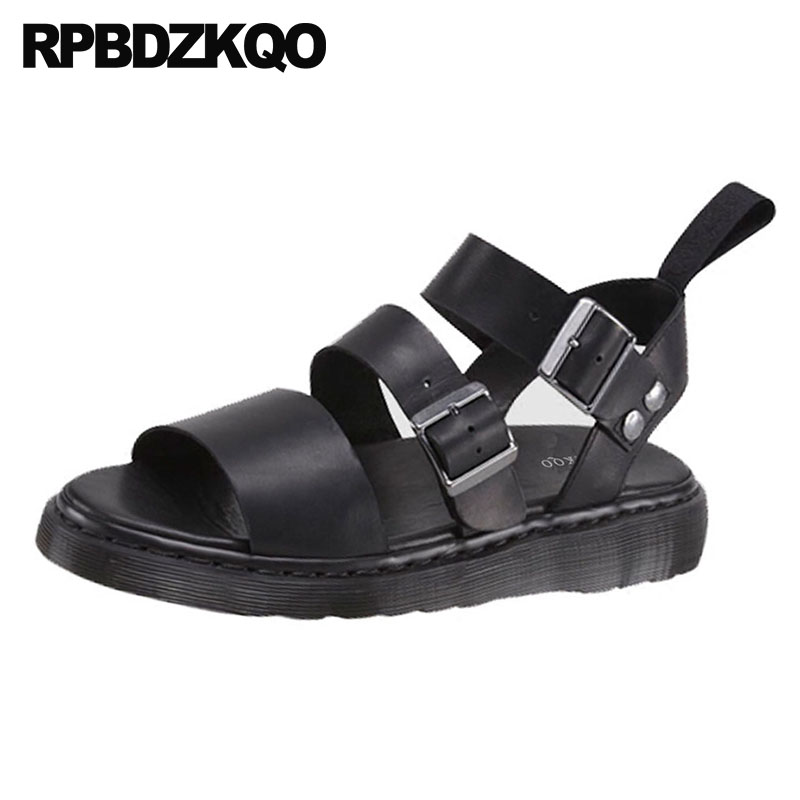 Womens Silver Open Toe Double Buckle Strap Slide Flat Platform Sandal Shoe