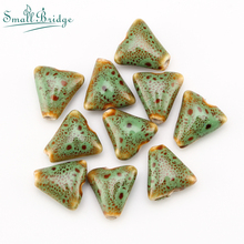 14mm Loose Triangle Ceramic Beads Handmade Charms Bracelet Material Accessories Mix color Porcelain Wholesale T151