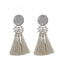Gold/Silver/Rose gold Tassel Earrings For Women Vintage Resin Long Big Earring Trendy Beads Fringe Earing Jewelry Femme