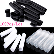 100PCS 5ml DIY Empty Lipstick Bottle Lip Gloss Tube Lip Balm Tube Container With Cap Clear Black White Cosmetic Sample Container