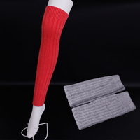 Solid color wool Leg Warmers Stripe thigh stockings female Wool boots socks High quality Leg Warmers Wool Knit High Knee Socks