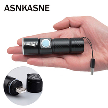 Portable USB Handy Powerful  LED Flashlight Rechargeable Torch usb Flash Light Bike Pocket LED Zoomable Lamp Free Shipping