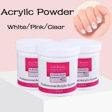 1 Box 120g Acrylic Powder Crystal Nail Glitter White Pink Clear Nail Polymer Art Builder False Tips Nail Art Decoration SA789