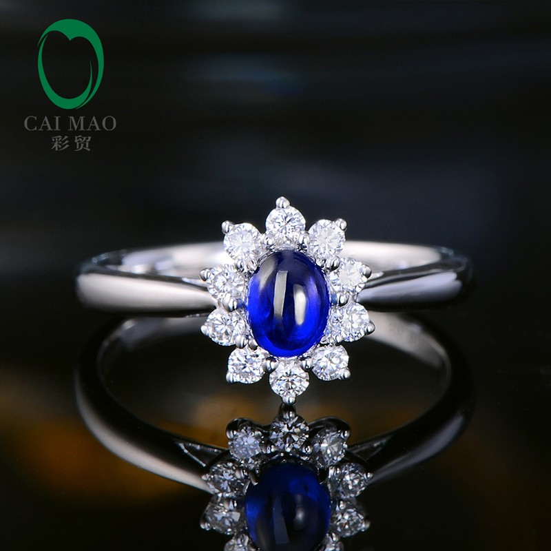 Caimao Cabochon Cut Natural Blue Sapphire 14kt White Gold Halo Diamond Vintage Engagement Ring for Women caimao exquisite jewelry natural cabochon cut emerald baguette cut diamond 14kt white gold drop earrings