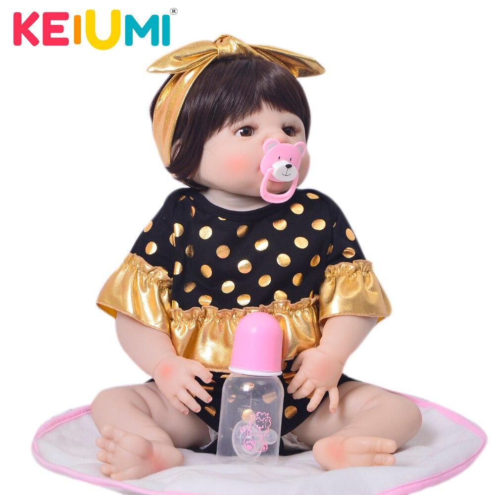 KEIUMI 23'' 57 cm Reborn Baby Doll Full Body Silicone Lifelike Princess Bebe Reborn Bonecas Children Playmate Toy Birthday Gifts цена