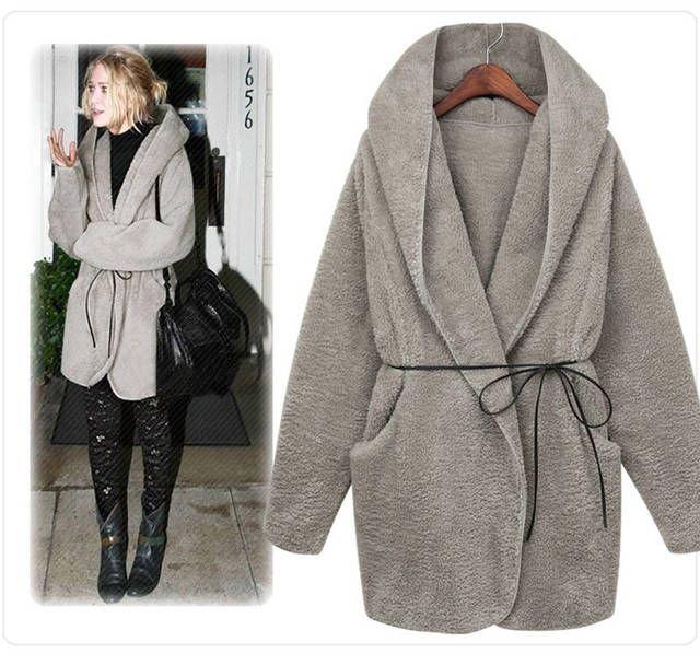 Womens Cloak Hooded Thickened Coats Outerwear Overcoat Faux Woolen ...