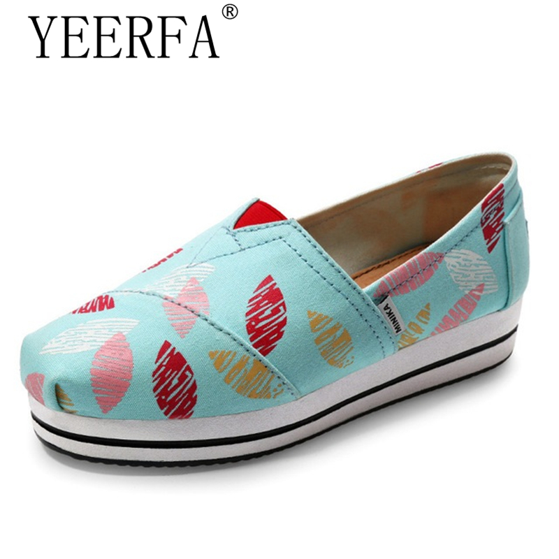 Platform Canvas Shoes Woman Comfort Casual Slip On Flats Breathable Loafers Shoes High Quality Print Flower Pattern Shoes akexiya casual women loafers platform breathable slip on flats shoes woman floral lace ladies flat canvas shoes size plus 35 43