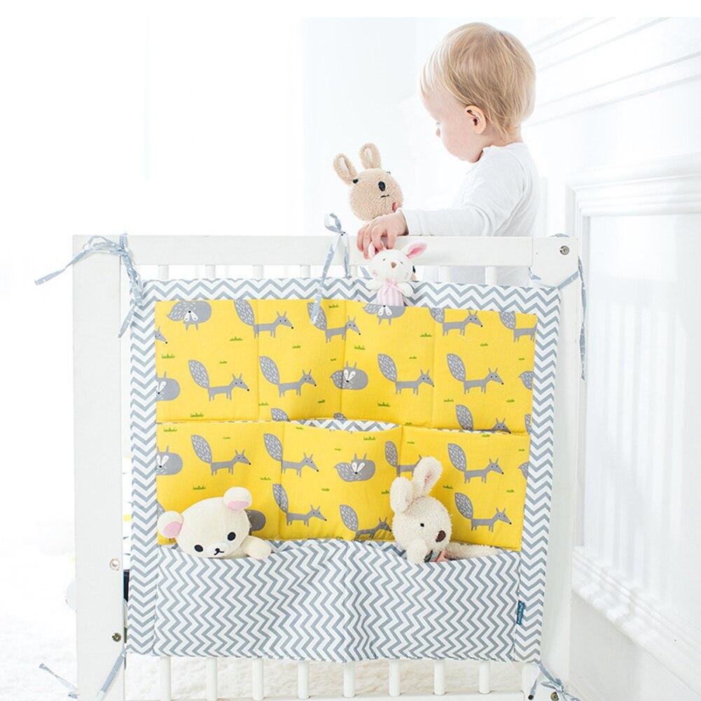 Multi-pockets Multi-layer Storage Bag Multifunctional Crib Cartoon Bed Organizer Baby Supplies 60*50cm Hanging