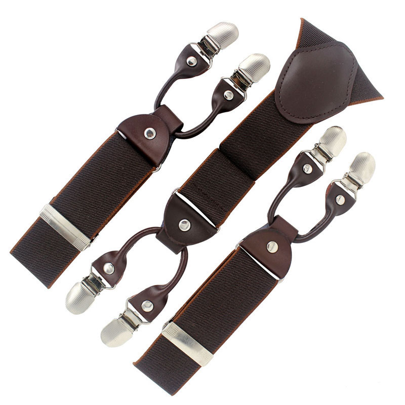 Fashion Tirantes Alloy Men's Braces 6 Clips Men's Elastic Suspenders Genuine Leather Adult Straps Fashion Braces 2015 New Coming
