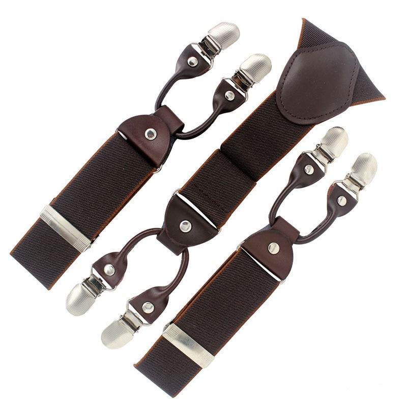 Fashion Tirantes Alloy Men's Braces 6 Clips Men's Elastic Suspenders Genuine Leather Adult Straps Fashion Braces 2015 New Coming