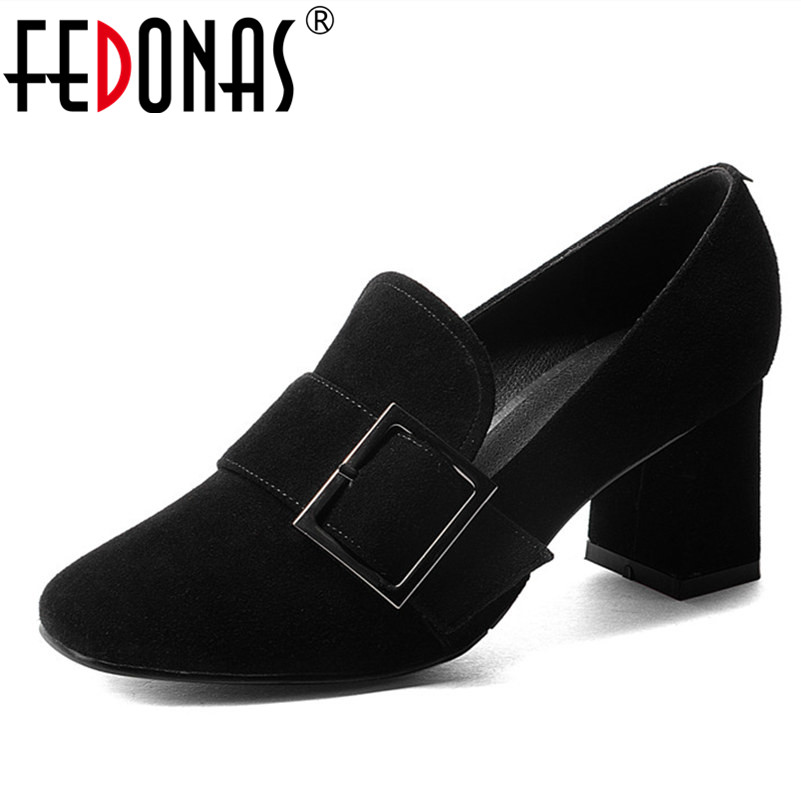 FEDONAS New Women High Heel Fashion Pumps Genuine Leather Round Toe Full Season Shoes Woman Pumps Buckles Party Shoes Big Size
