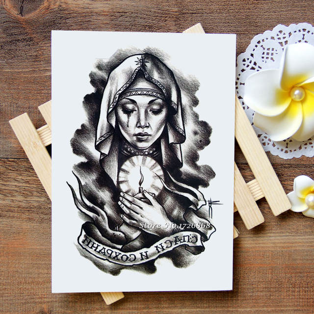 Online Shop Waterproof Temporary Tattoos Stickers Virgin Mary Tattoo