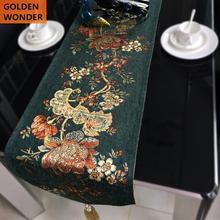 Customized European Modern Chenille Jacquard Tea Table Runner Long Cover Cloth