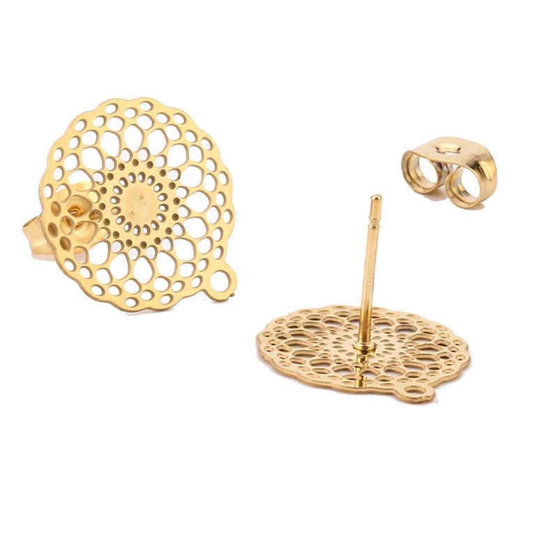 10pcs 304 נירוסטה זהב עגיל רכיבי תכשיטי הודעה ממצאי עם חור עבור DIY זרוק להתנדנד עגיל ביצוע 15mm
