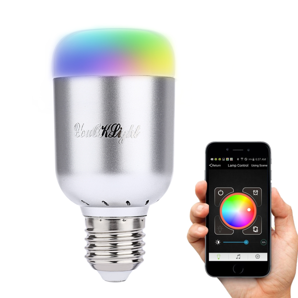 1pcs Bluetooth 4.0 Smart LED Bulb Light Lamp RGB E27 6W Colorful Dimmable Lights Bulb With Remote Control rgb 10w led bulb e27 e14 ac85 265v led lamp with remote control led lighting multiple colour