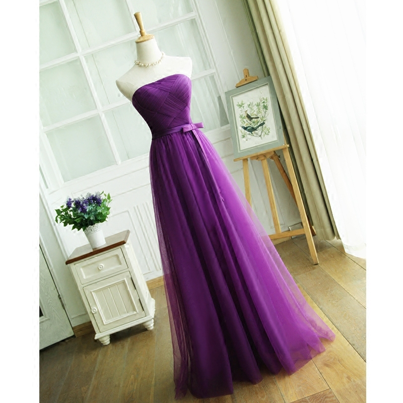 Real Sample Saudi Arabia Fashionable sexy purple   Bridesmaid     dresses   2018 Simple Strapless Pleats Prom   Dress   Party Gowns