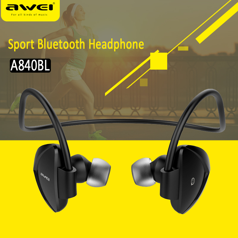 Awei Original A840BL Wireless Sports Headphones Bluetooth 4 Sweatproof for iPhone Android mp3 mp4 iPad iPod With Microphone new arrival awei a840bl wireless sports bluetooth 4 sweat proof for iphone android mp3 mp4 ipad ipod with microphone