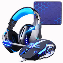 Gaming Headset Headphone + Wired Gaming Mouse Mouse 4000 DPI Bass Stereo Gamer Earphone + Gaming Mouse Pad Kombinasi untuk laptop PC(China)