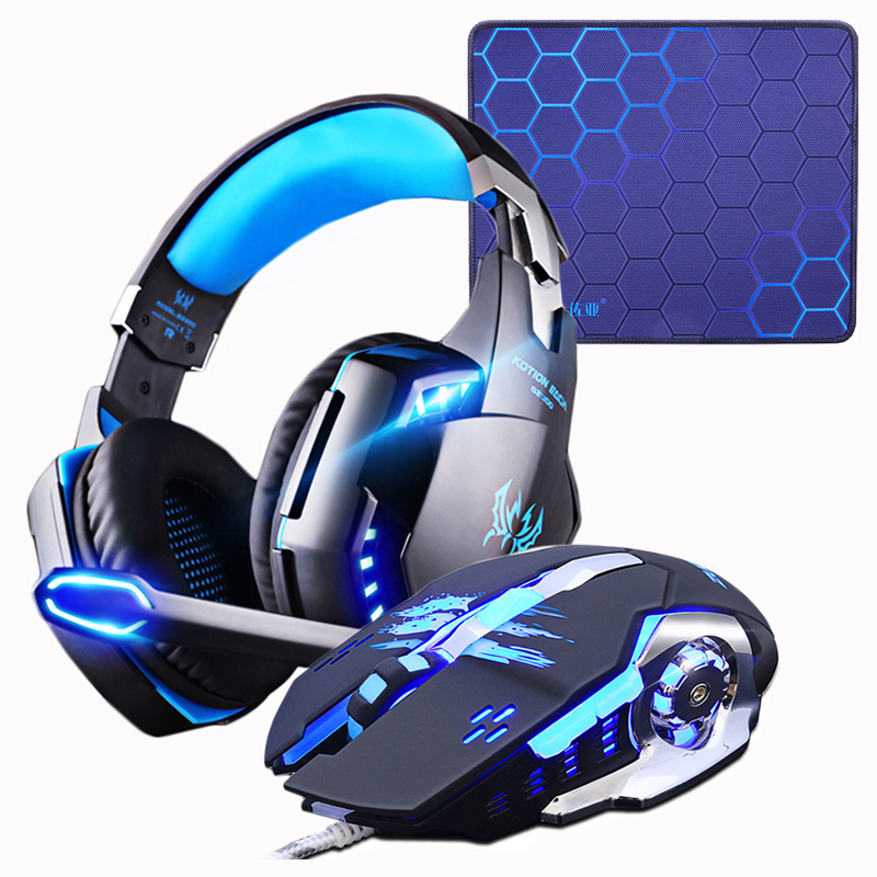 Gaming Headset Headphones +Wired Gaming Mouse Mice 4000DPI B