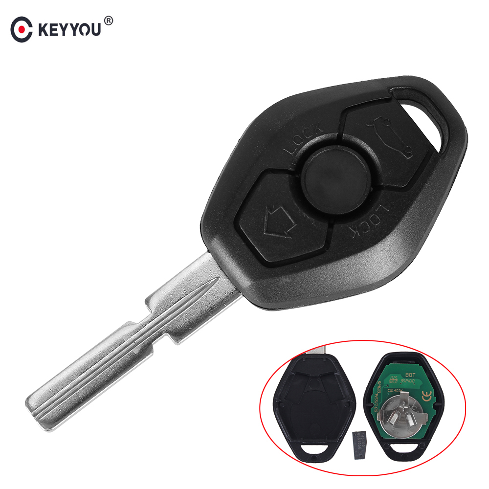 KEYYOU Replacement Remote Control Key 3 Buttons EWS System 315433MHZ ID44 Chip HU58 For BMW 3 5 7 Series E38 E39 E46