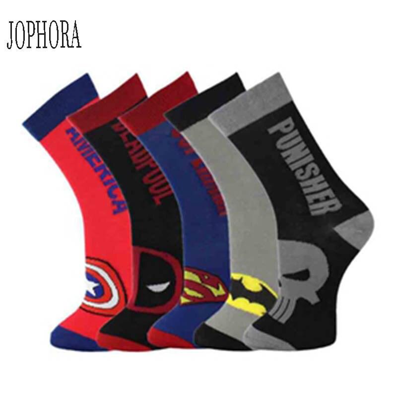 European and American hero series Superman Spiderman Batman American captain calf   socks   cotton men   socks   cartoon   socks