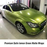 5ft X 65ft Roll Lemon Satin Chrome Vinyl Car Wrap Film With Air Bubble Free For