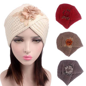 edd500adaf7 KLV Women beanies knitted wool girl lady Turban Hat Cap