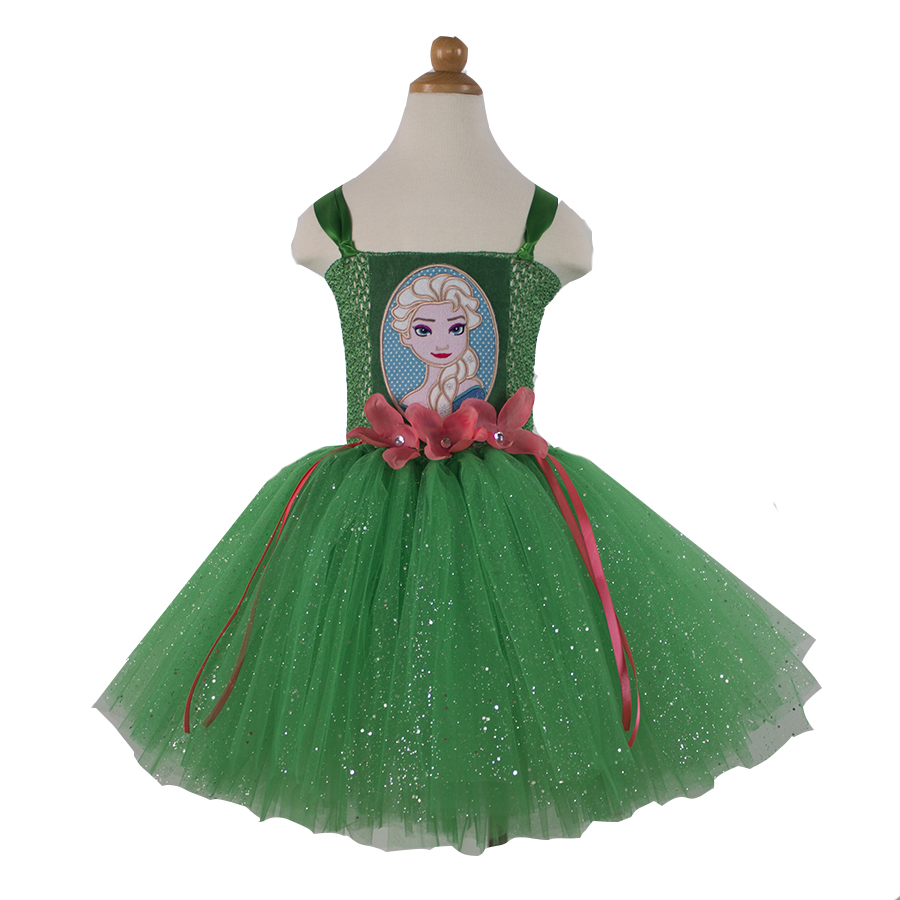 Queen Elsa Inspired Handmade Fancy Tutu Dress Green Glitter Tulle Party Dance Birthday Cosplay Costume Baby Child Girl 2T-12Y party girl dress birthday tutu dress green tulle tutu dress handmade girl dresses