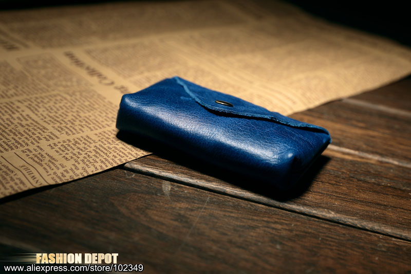 Cow Leather Real Leather Credit card holder business card wallet blue  (1)