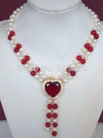 810จัดส่งฟรีaaa00424 +++เสน่ห์! 2 Rowsสีขาวมุกและสีแดงหัวใจสร้อยคอ